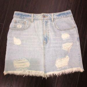 Light blue wash denim skirt